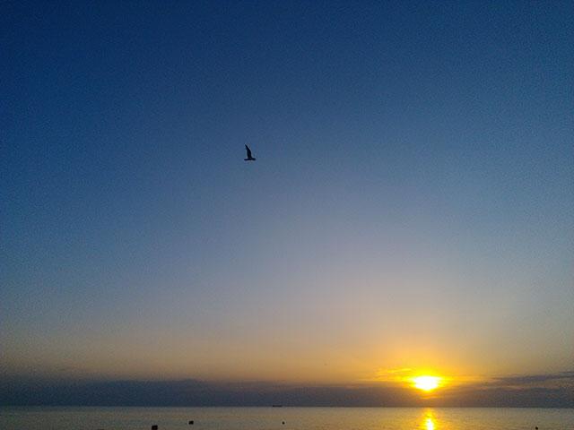 закат на море в ейске