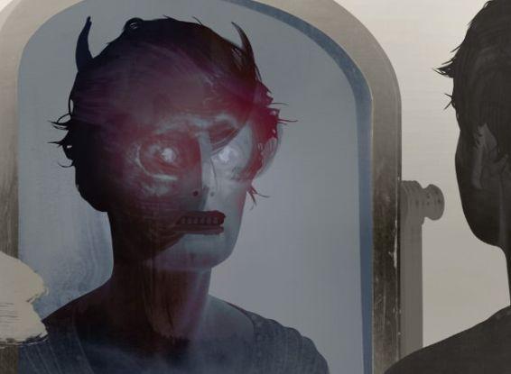 в зеркале отражается дьявол